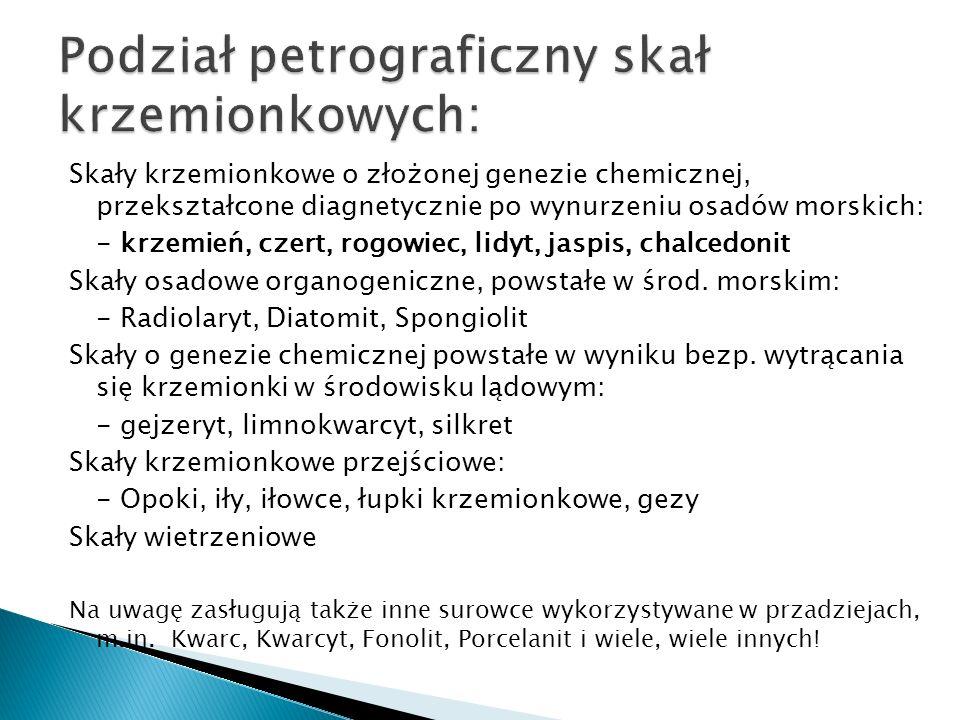 Podział petrograficzny skał krzemionkowych: