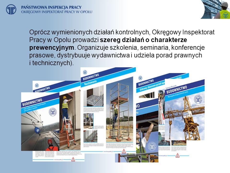 Oprócz wymienionych działań kontrolnych, Okręgowy Inspektorat Pracy w Opolu prowadzi szereg działań o charakterze prewencyjnym.