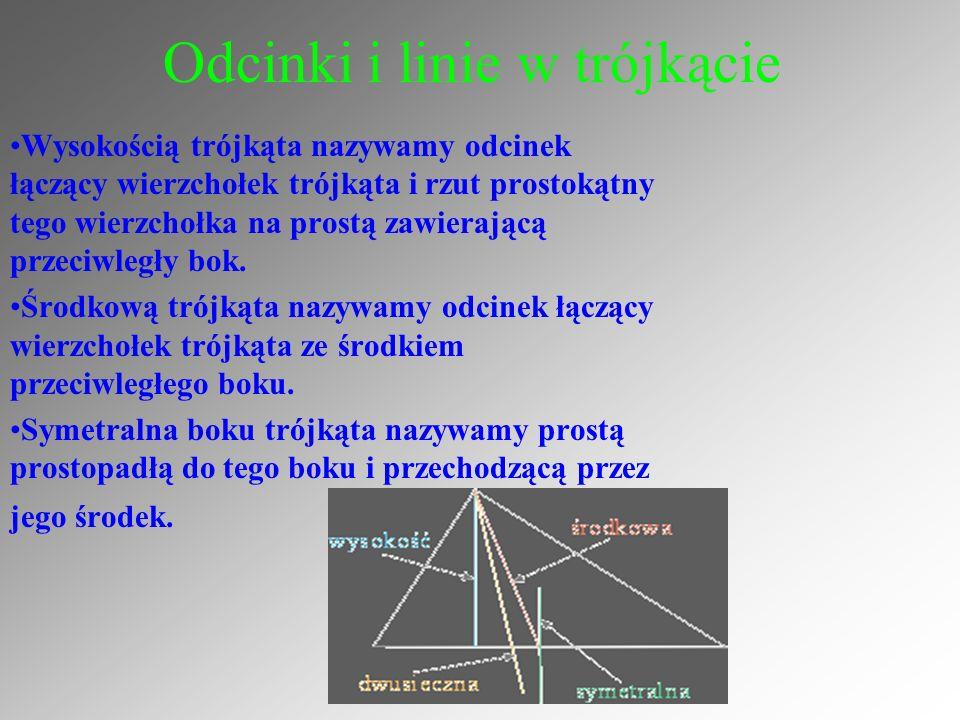 Odcinki i linie w trójkącie