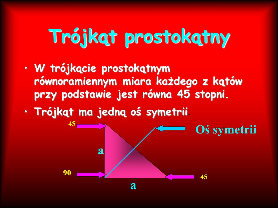 Trójkąt prostokątny Oś symetrii a a