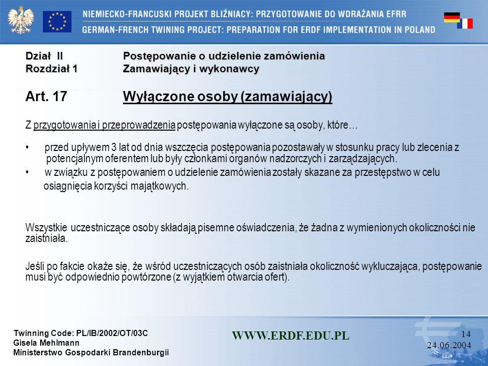 Art. 17 Wyłączone osoby (zamawiający)