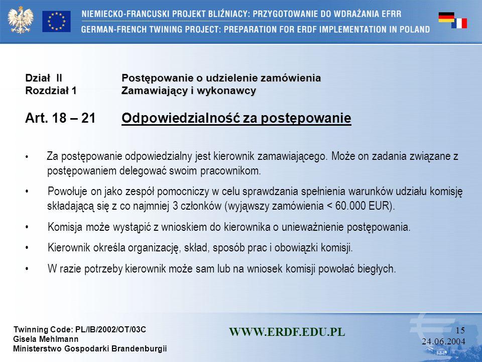 Art. 18 – 21 Odpowiedzialność za postępowanie