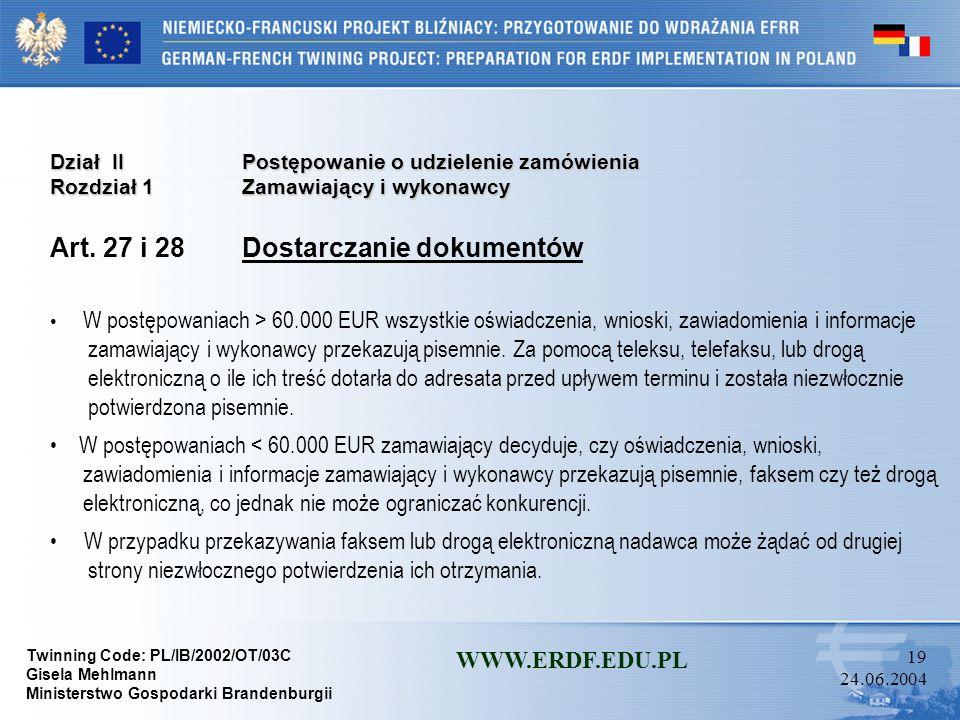 Art. 27 i 28 Dostarczanie dokumentów