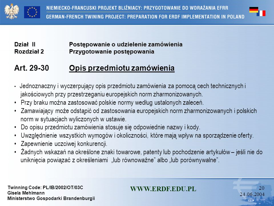 Art. 29-30 Opis przedmiotu zamówienia