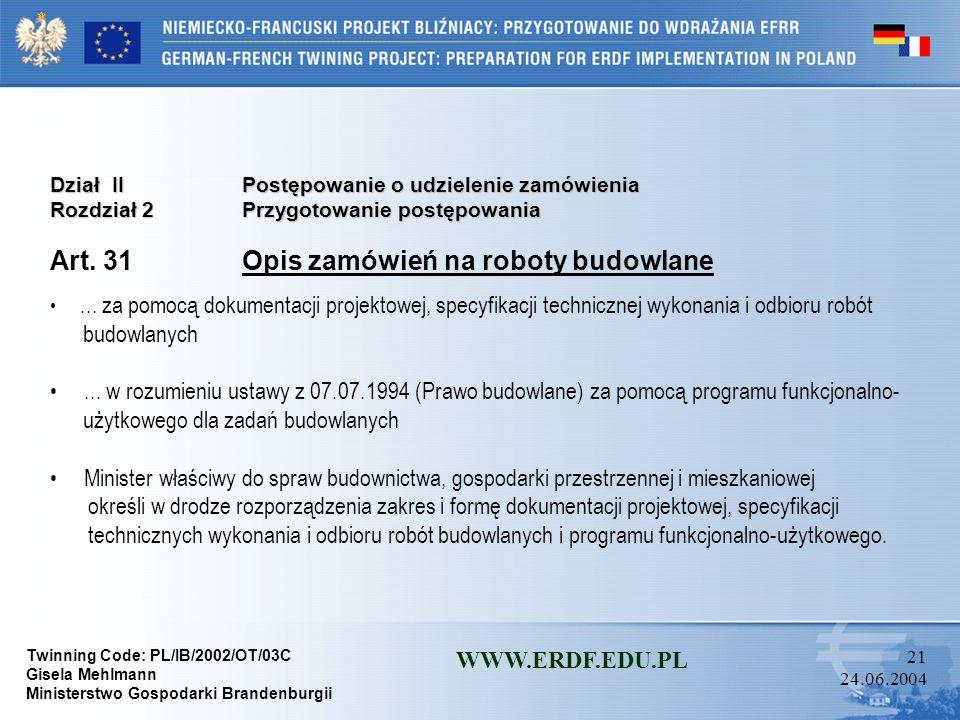 Art. 31 Opis zamówień na roboty budowlane