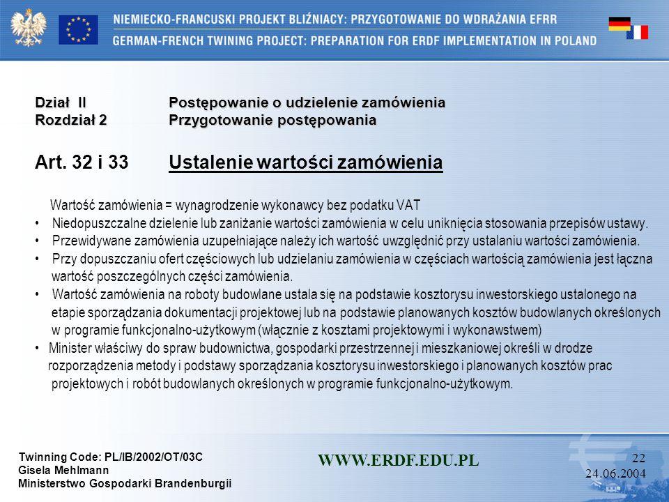 Art. 32 i 33 Ustalenie wartości zamówienia