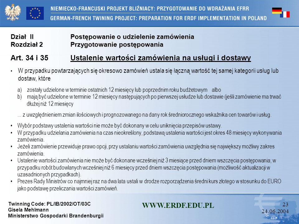 Art. 34 i 35 Ustalenie wartości zamówienia na usługi i dostawy