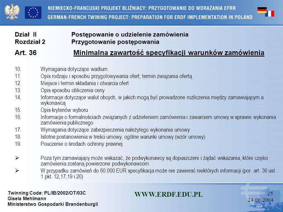 Art. 36 Minimalna zawartość specyfikacji warunków zamówienia