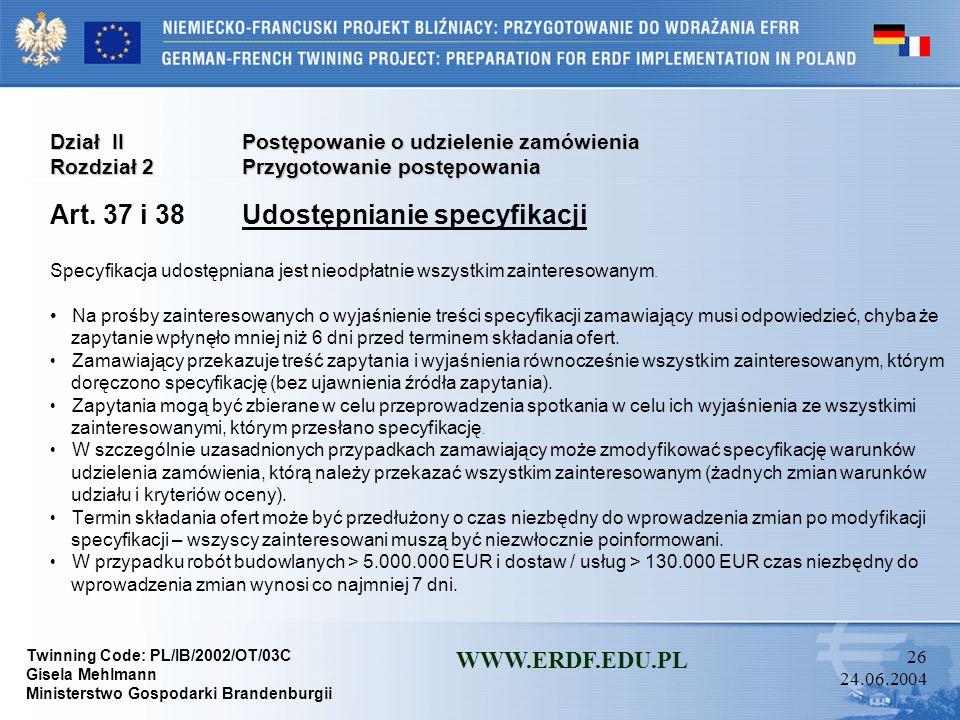 Art. 37 i 38 Udostępnianie specyfikacji