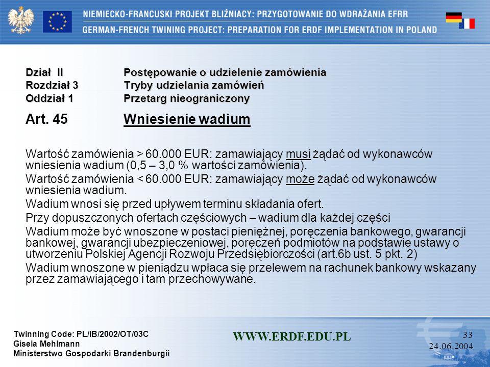 Art. 45 Wniesienie wadium WWW.ERDF.EDU.PL