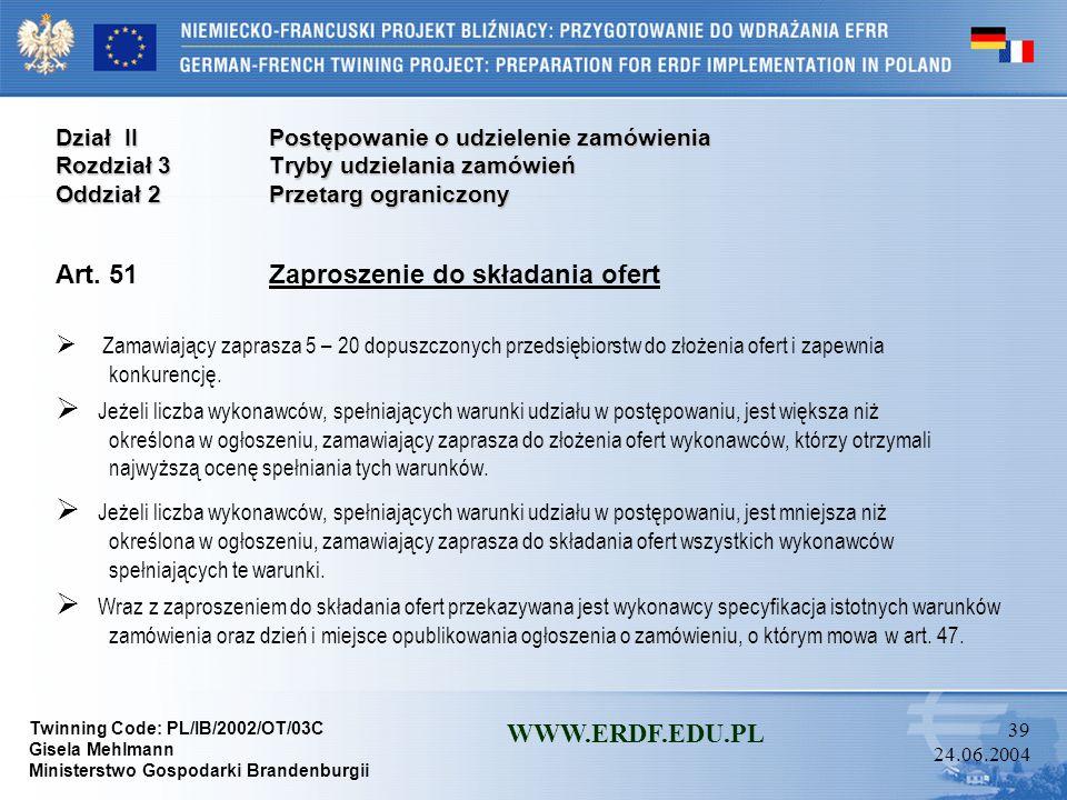 Art. 51 Zaproszenie do składania ofert