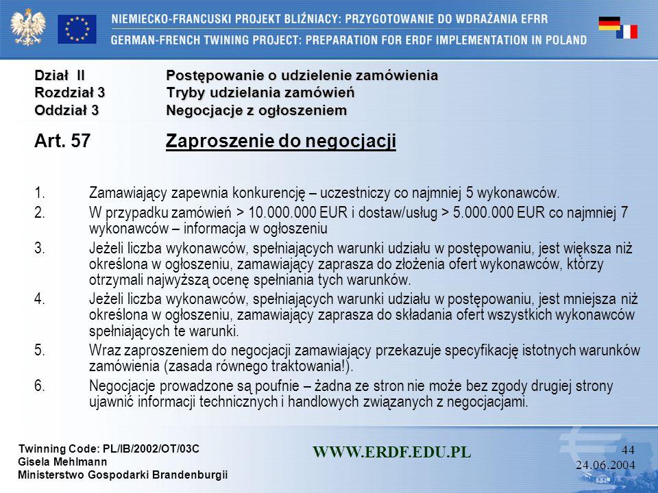 Art. 57 Zaproszenie do negocjacji