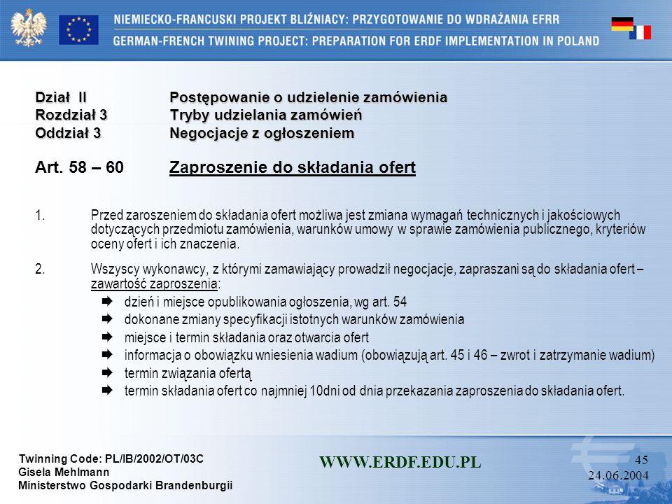 Art. 58 – 60 Zaproszenie do składania ofert