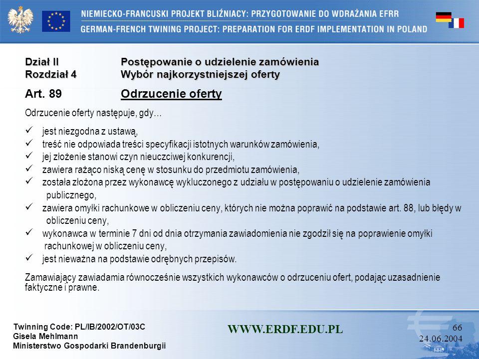 Art. 89 Odrzucenie oferty WWW.ERDF.EDU.PL