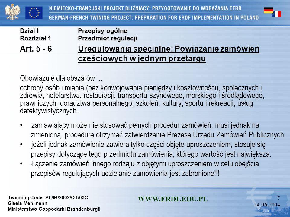 Art. 5 - 6 Uregulowania specjalne: Powiązanie zamówień