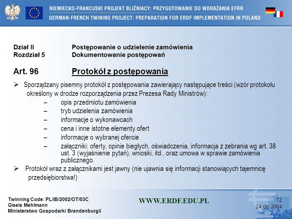 Art. 96 Protokół z postępowania