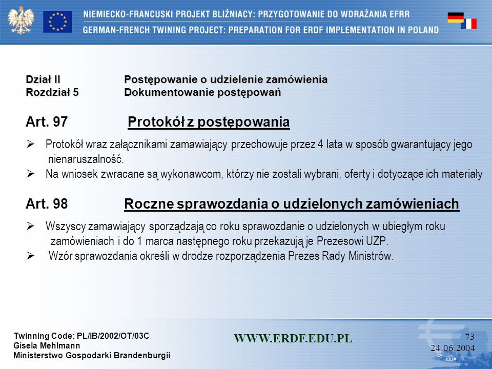Art. 97 Protokół z postępowania