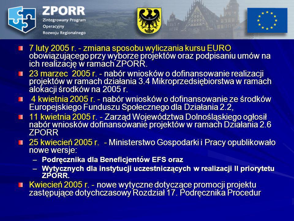 7 luty 2005 r. - zmiana sposobu wyliczania kursu EURO obowiązującego przy wyborze projektów oraz podpisaniu umów na ich realizację w ramach ZPORR.
