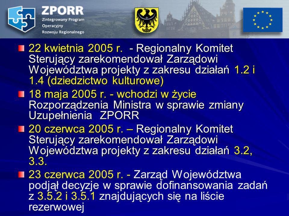 22 kwietnia 2005 r. - Regionalny Komitet Sterujący zarekomendował Zarządowi Województwa projekty z zakresu działań 1.2 i 1.4 (dziedzictwo kulturowe)