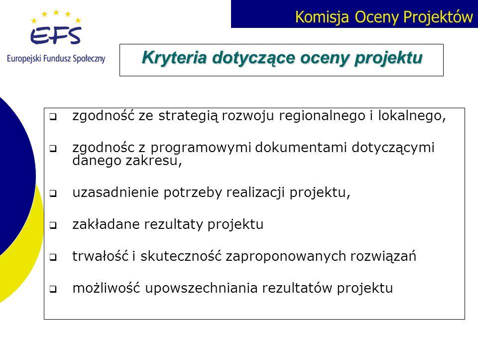Kryteria dotyczące oceny projektu
