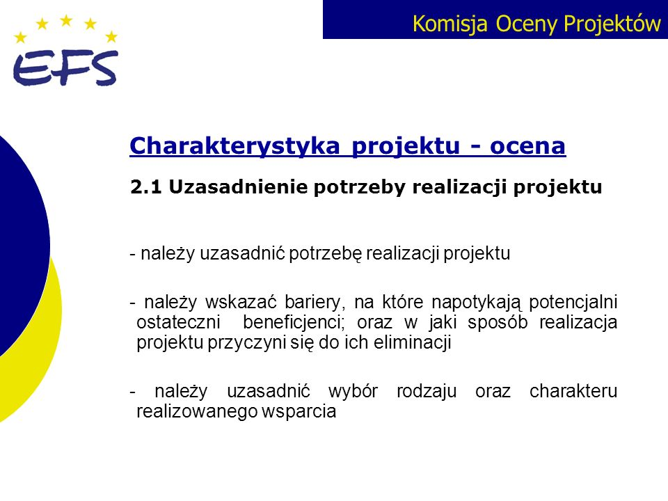 Charakterystyka projektu - ocena