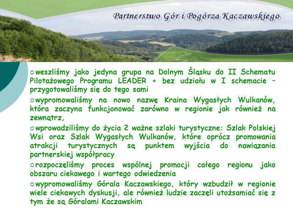 weszliśmy jako jedyna grupa na Dolnym Śląsku do II Schematu Pilotażowego Programu LEADER + bez udziału w I schemacie – przygotowaliśmy się do tego sami