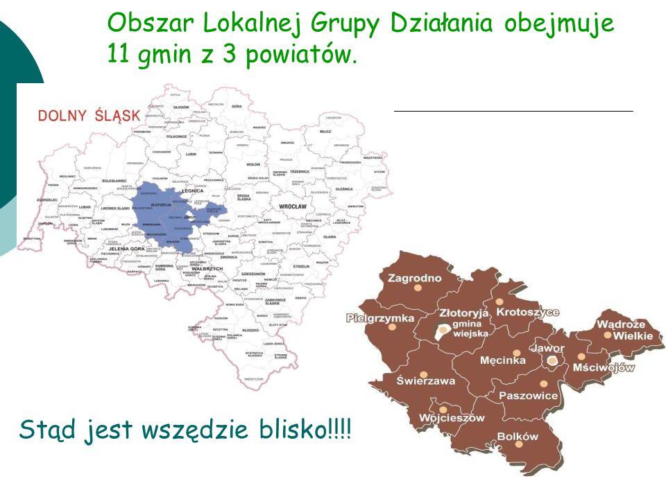 Obszar Lokalnej Grupy Działania obejmuje 11 gmin z 3 powiatów.