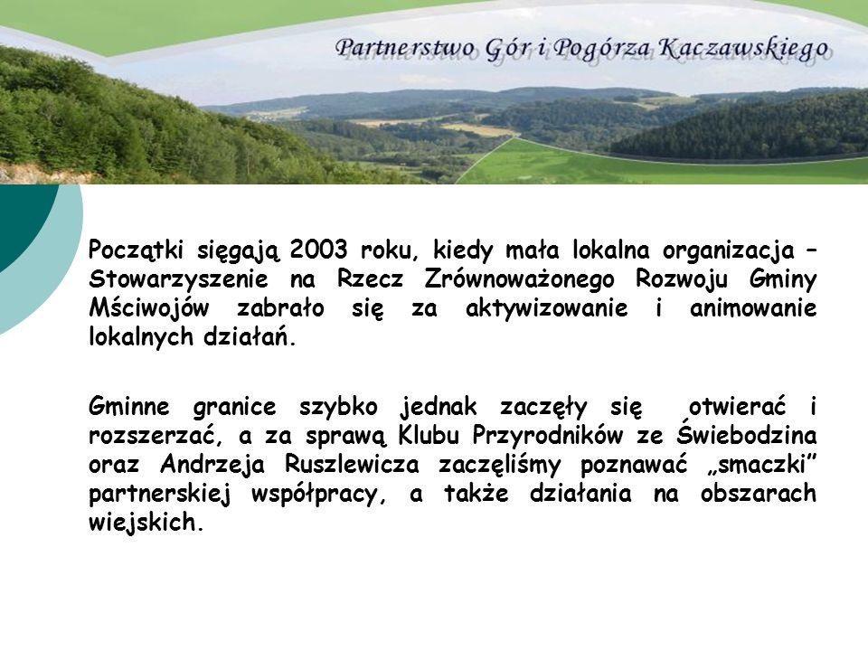 Początki sięgają 2003 roku, kiedy mała lokalna organizacja – Stowarzyszenie na Rzecz Zrównoważonego Rozwoju Gminy Mściwojów zabrało się za aktywizowanie i animowanie lokalnych działań.