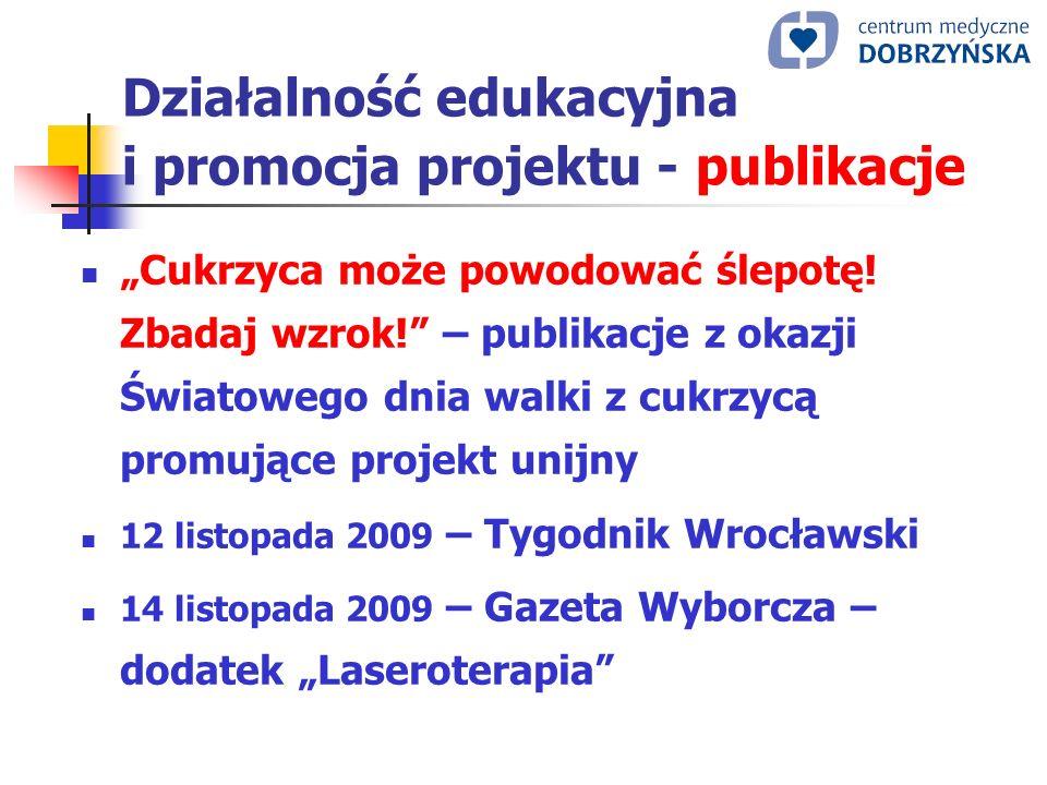 Działalność edukacyjna i promocja projektu - publikacje