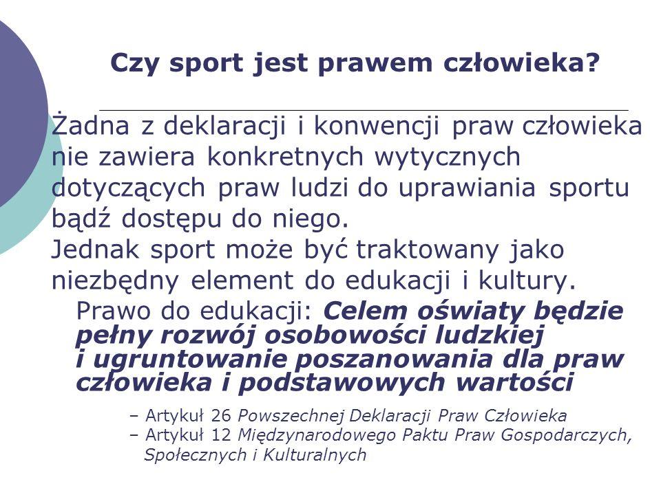Czy sport jest prawem człowieka