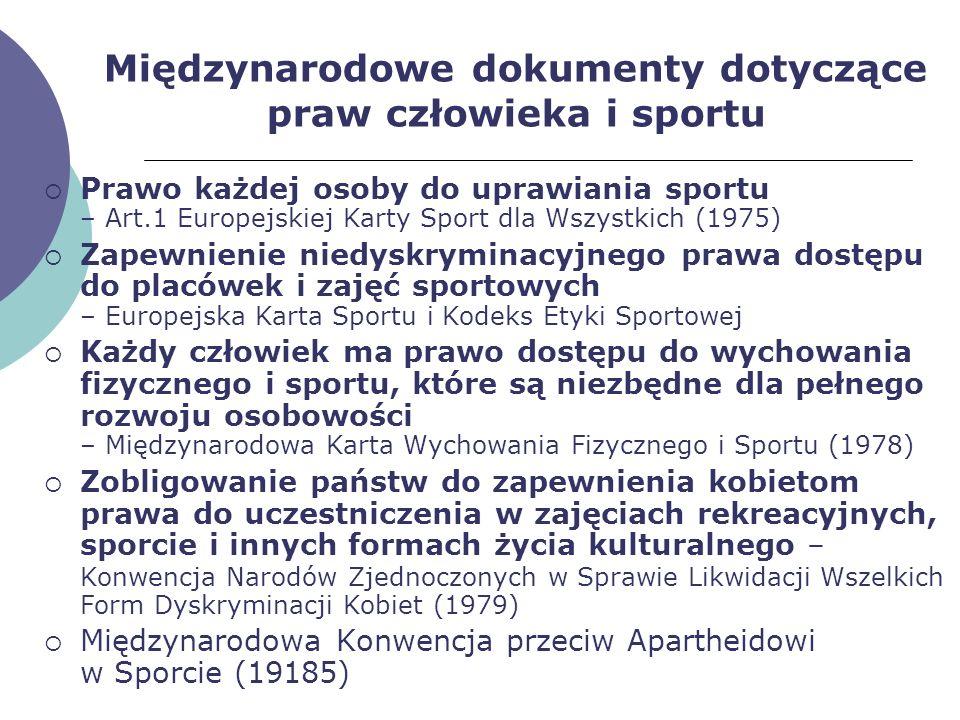 Międzynarodowe dokumenty dotyczące praw człowieka i sportu