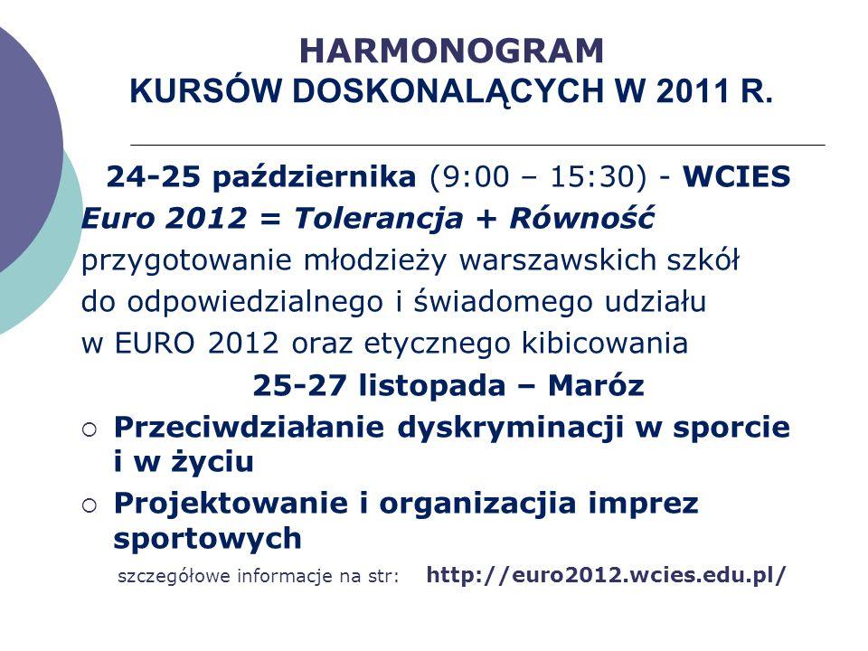 HARMONOGRAM KURSÓW DOSKONALĄCYCH W 2011 R.