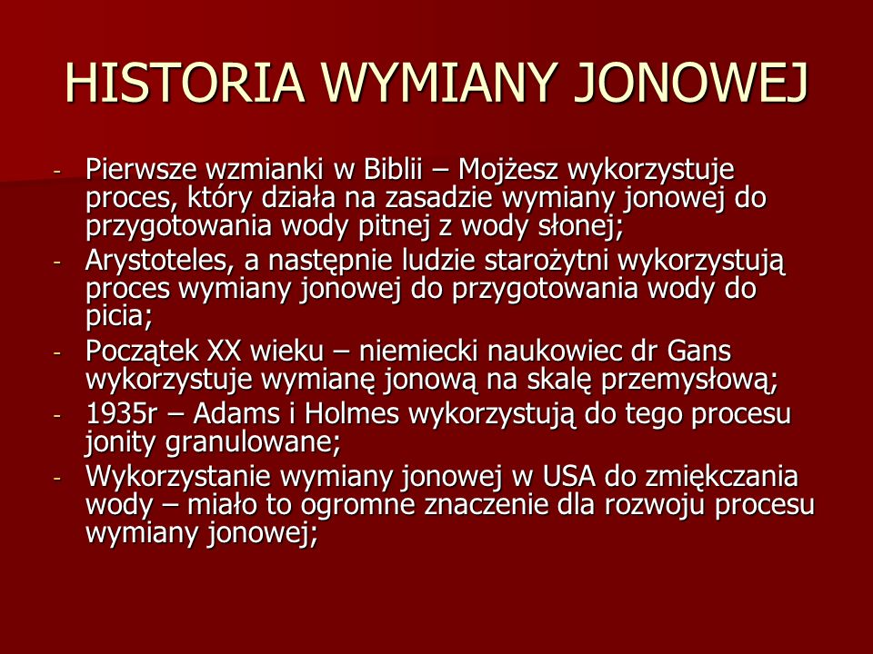 HISTORIA WYMIANY JONOWEJ