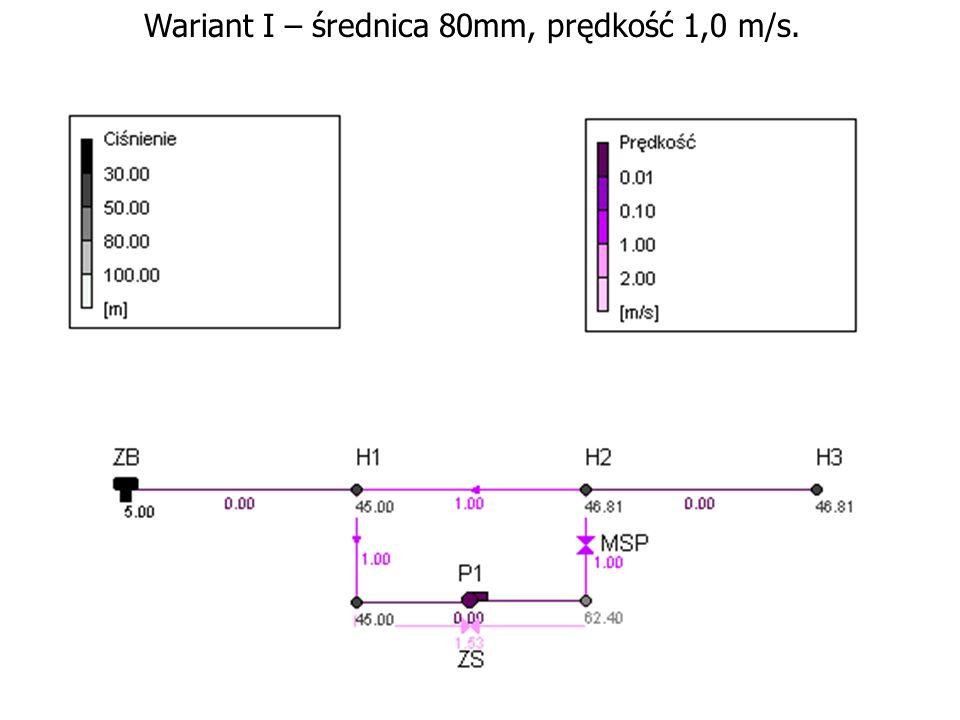 Wariant I – średnica 80mm, prędkość 1,0 m/s.