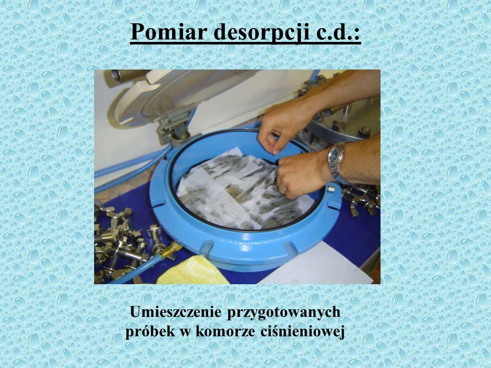Umieszczenie przygotowanych próbek w komorze ciśnieniowej
