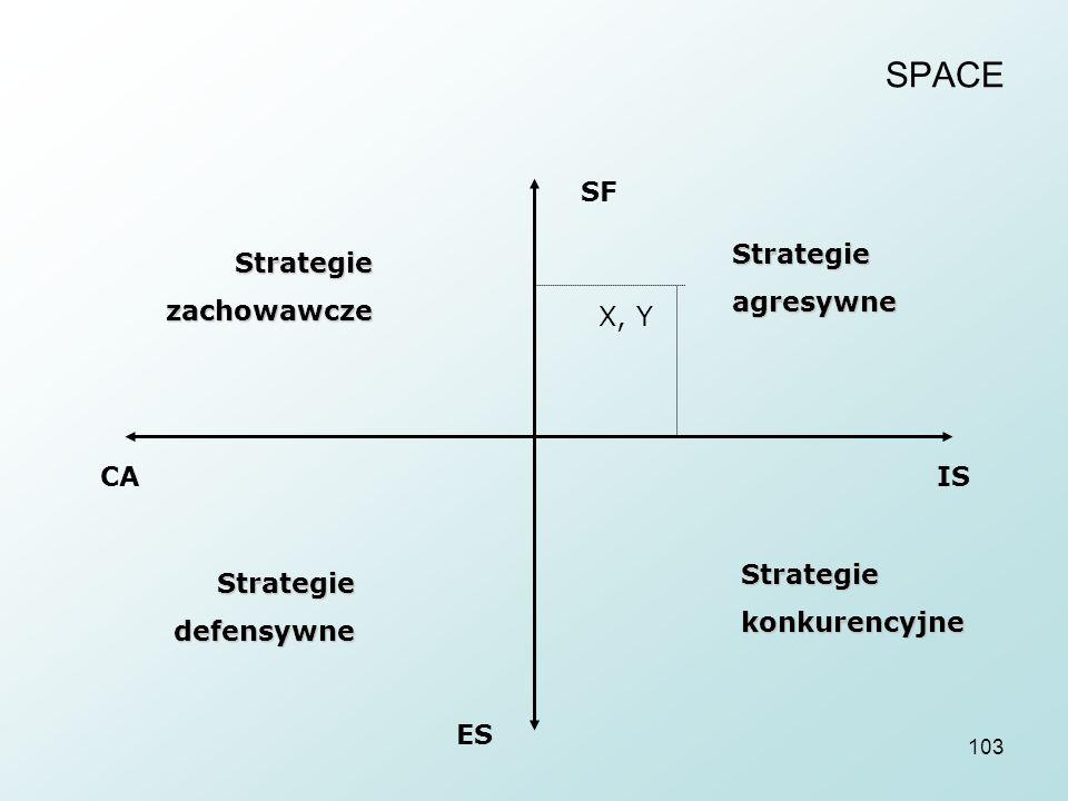 SPACE SF Strategie agresywne Strategie zachowawcze X, Y CA IS