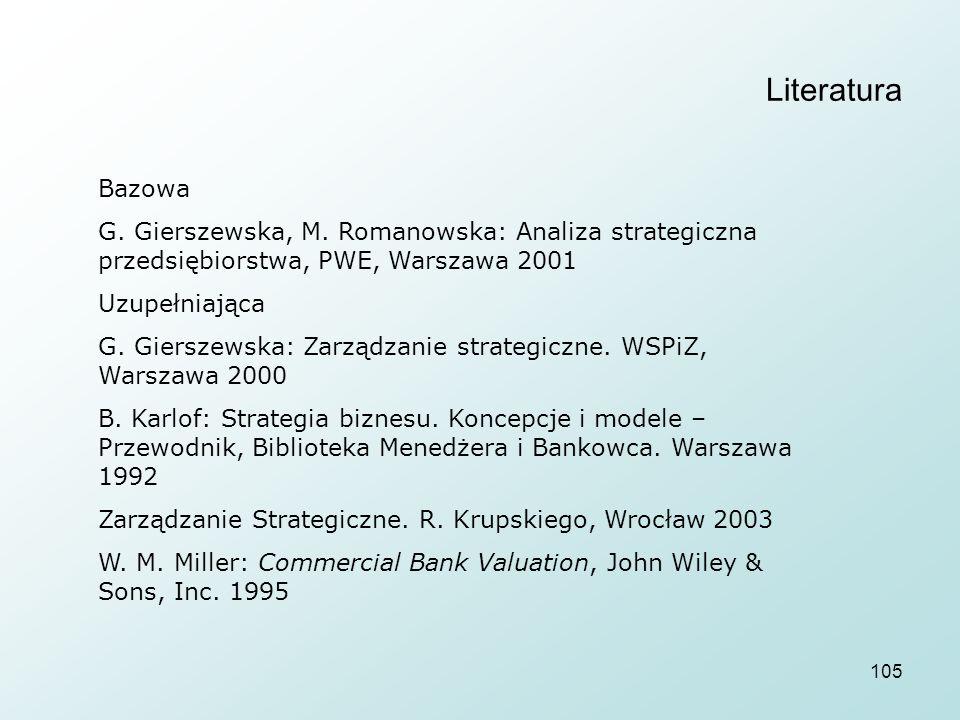 Literatura Bazowa. G. Gierszewska, M. Romanowska: Analiza strategiczna przedsiębiorstwa, PWE, Warszawa 2001.