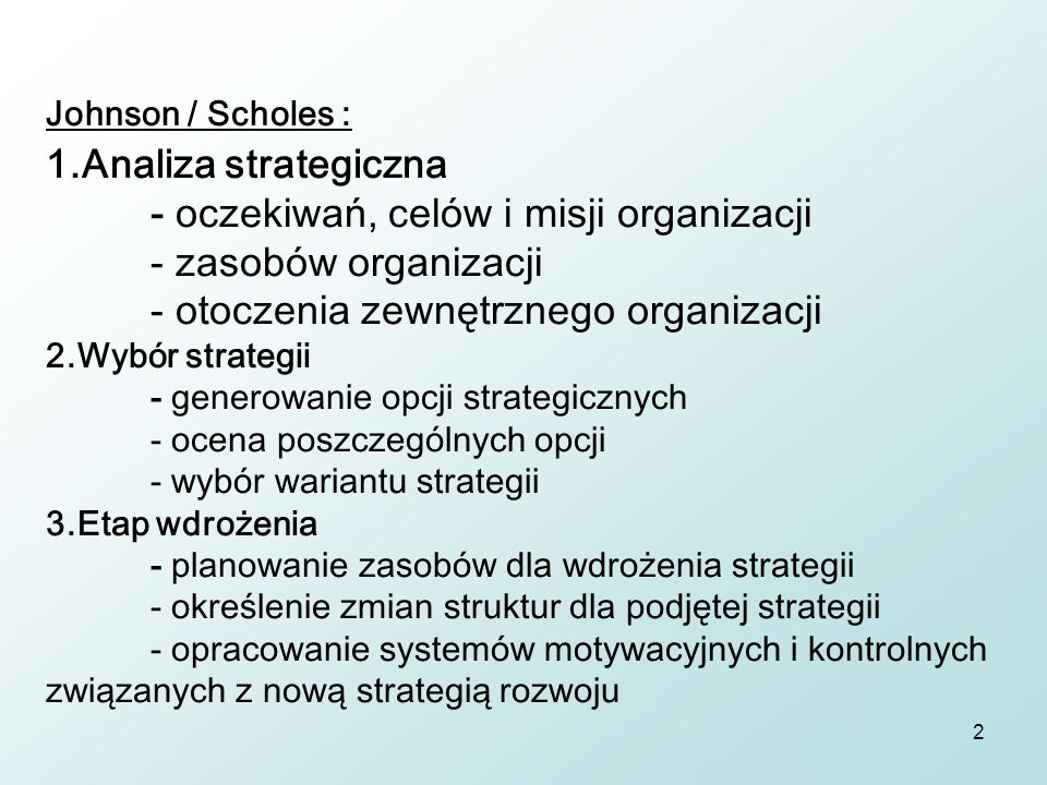 Johnson / Scholes : 1. Analiza strategiczna
