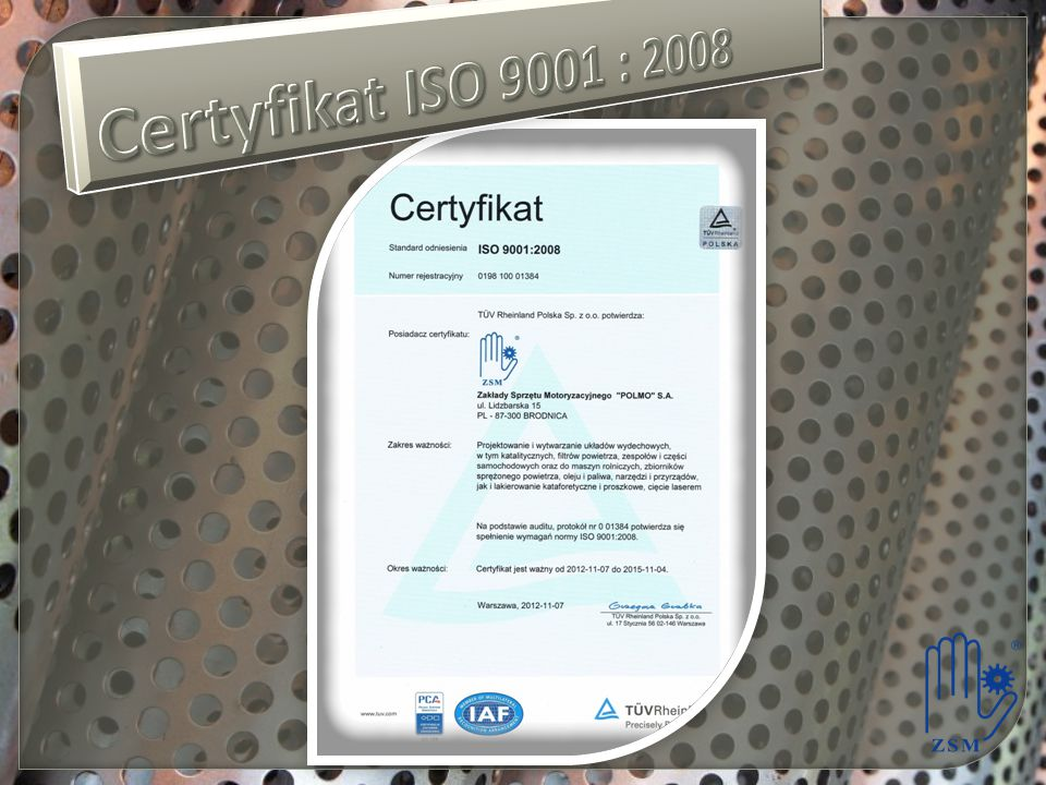 Certyfikat ISO 9001 : 2008