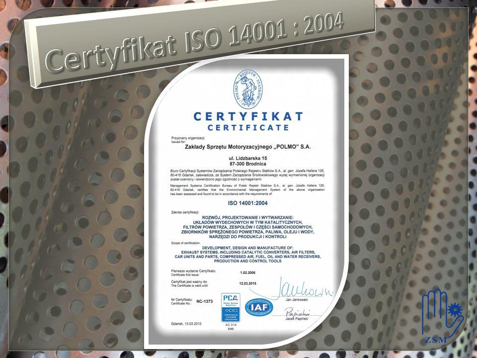 Certyfikat ISO 14001 : 2004