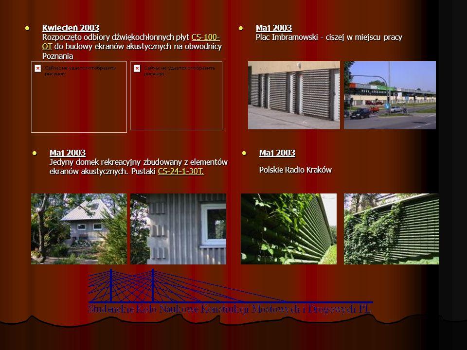 Kwiecień 2003 Rozpoczęto odbiory dźwiękochłonnych płyt CS-100-OT do budowy ekranów akustycznych na obwodnicy Poznania