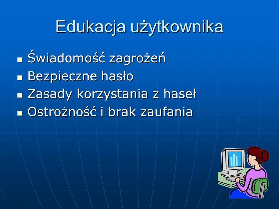 Edukacja użytkownika Świadomość zagrożeń Bezpieczne hasło