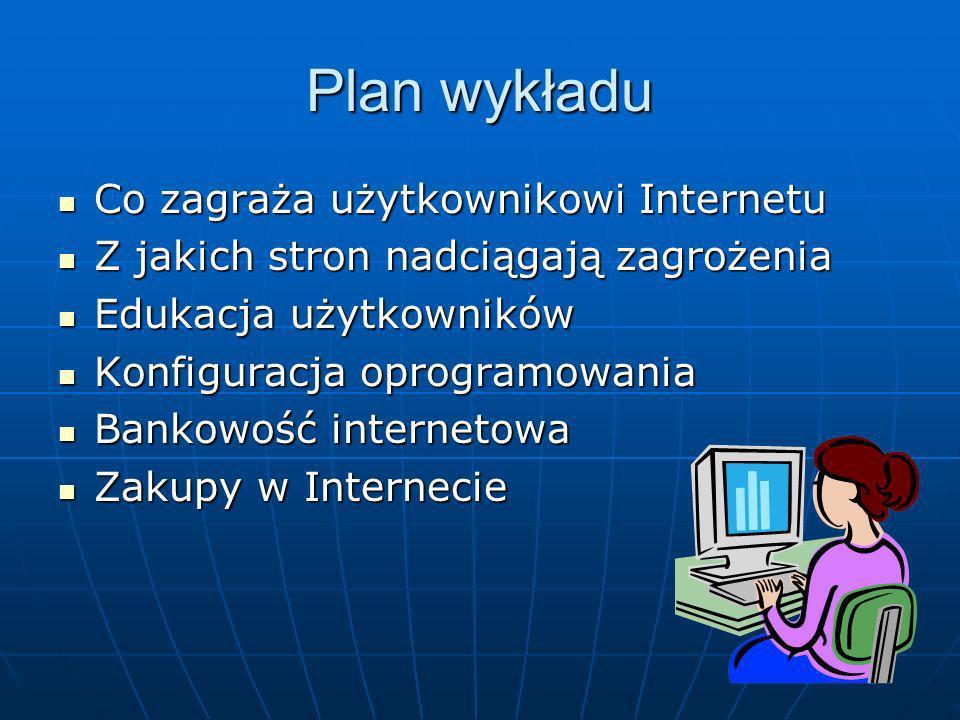 Plan wykładu Co zagraża użytkownikowi Internetu