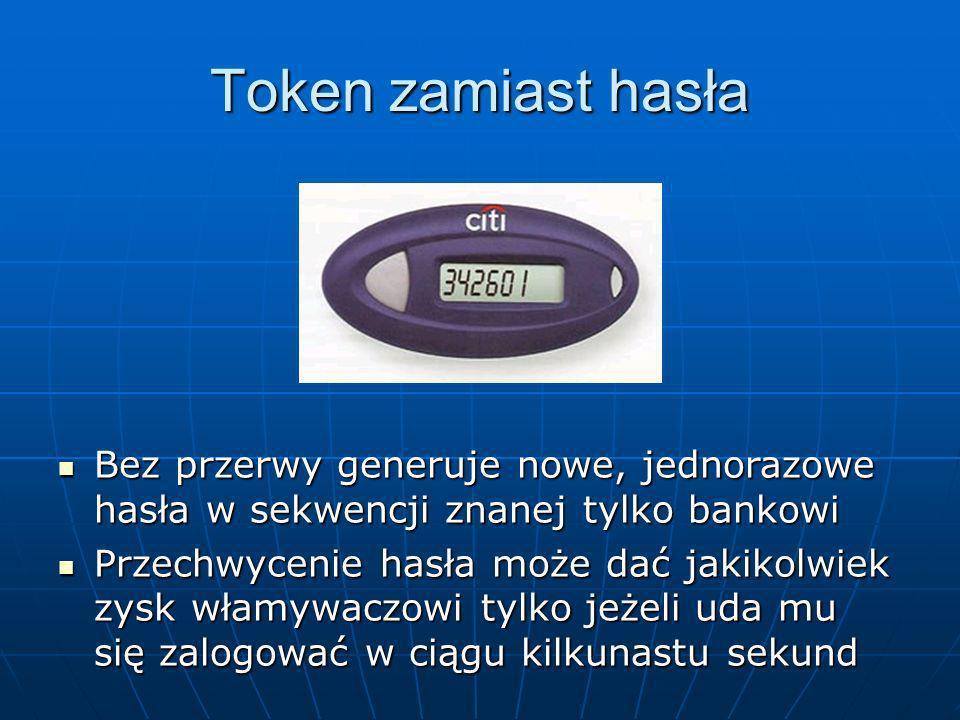 Token zamiast hasła Bez przerwy generuje nowe, jednorazowe hasła w sekwencji znanej tylko bankowi.