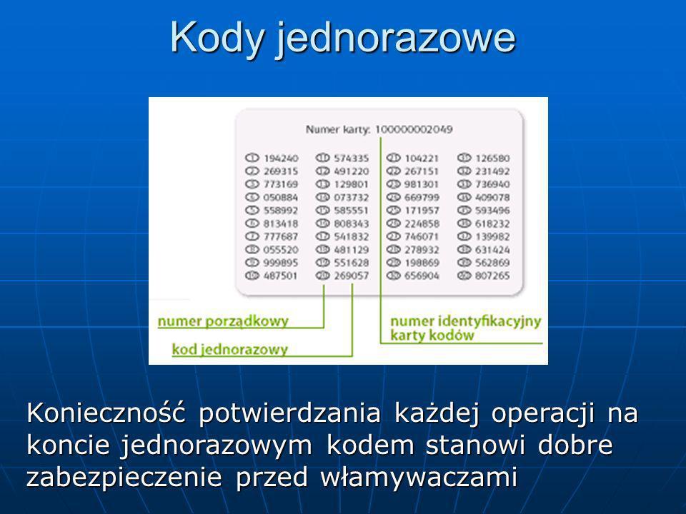 Kody jednorazoweKonieczność potwierdzania każdej operacji na koncie jednorazowym kodem stanowi dobre zabezpieczenie przed włamywaczami.
