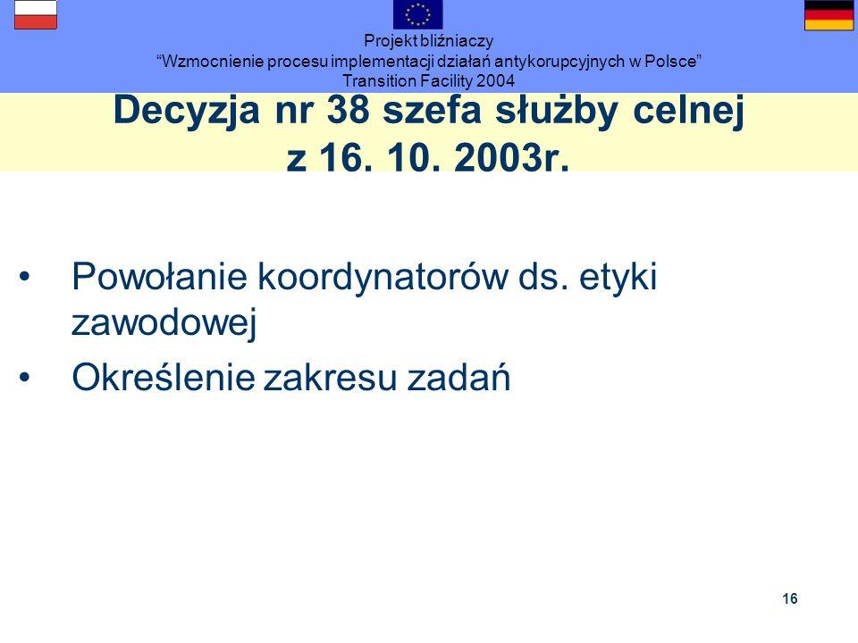 Decyzja nr 38 szefa służby celnej z 16. 10. 2003r.