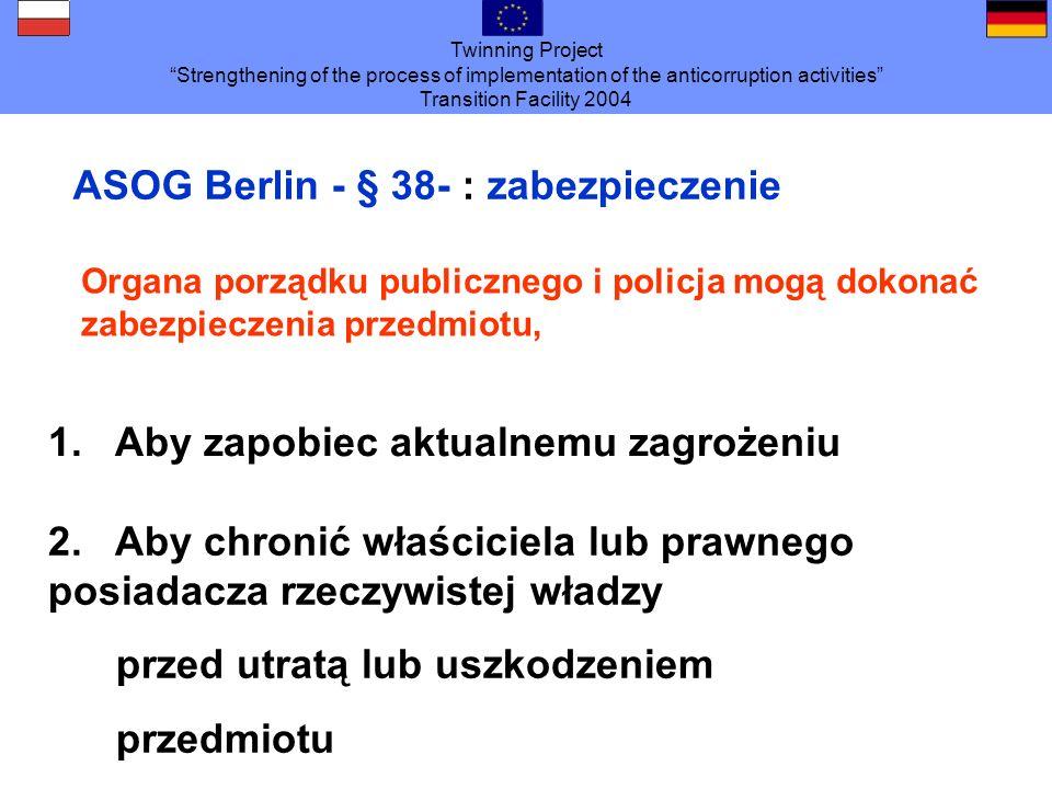 ASOG Berlin - § 38- : zabezpieczenie