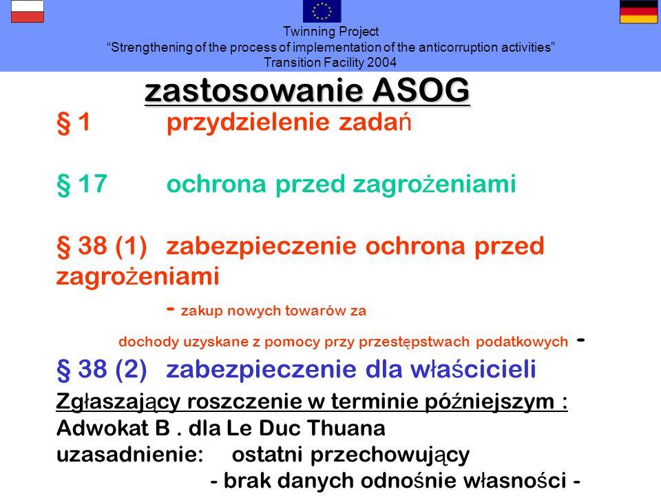 zastosowanie ASOG § 1 przydzielenie zadań