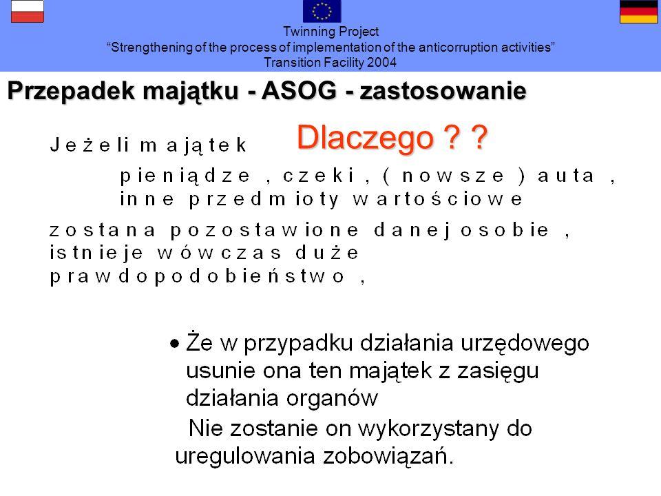 Przepadek majątku - ASOG - zastosowanie