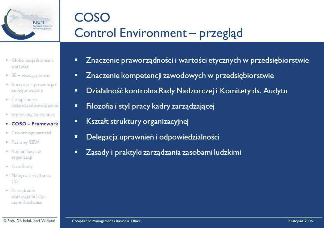 COSO Control Environment – przegląd